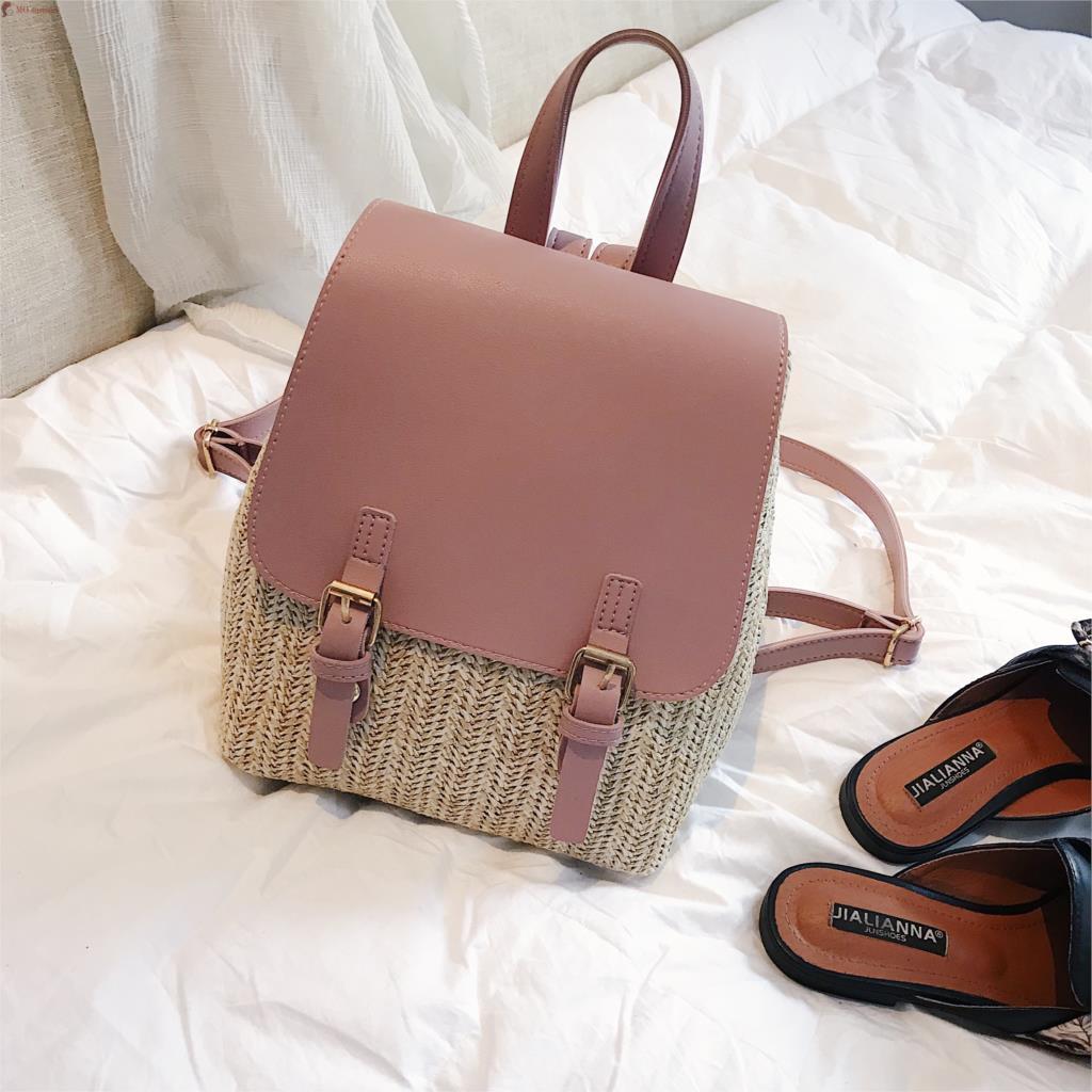 Женский рюкзак 2019 лето новый колледж небольшой рюкзак модный для досуга искусственная кожа + соломенный женский рюкзак леди путешествия