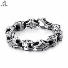 KALEN Punk Cross Bracelet Men's Stainless Steel 21.5cm 22cm Cross Cruz Charm Bracelet Heavy Chunky Bangle Jewelry Accessories stylish cross velvet charm bracelet