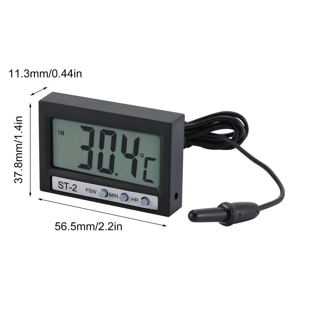 Thermomètre numérique lcd horloge portable voiture petit température temps celsius air