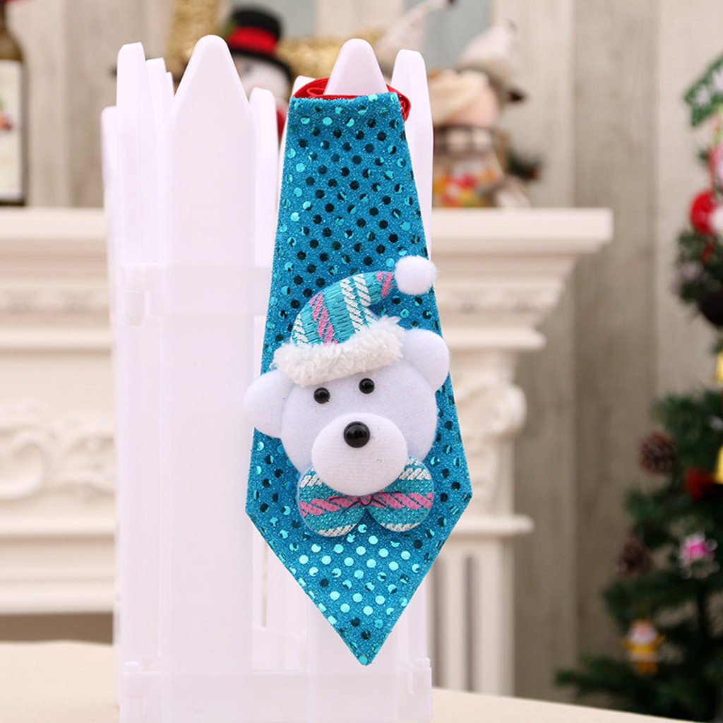 Christmas LED Tie Sequins Santa Claus Snowman Deer Bear For Home Xmas Decoration  Kids Toy Ornaments Christmas Gifts