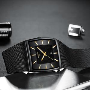 Image 3 - NIBOSI hommes montres haut de gamme de luxe bleu carré montre à Quartz hommes mince étanche or mâle montre bracelet hommes Relogio Masculino