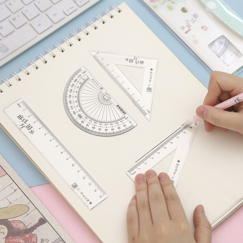 2020 New 4pcs/set Ruler Drawing Measurement Geometry Triangle Ruler Straightedge Protractor A Variety Of Rulers