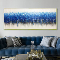 Abstract canvas painting wall art picture for living room blue wall decor home decor hallway acrylic art texture quadro