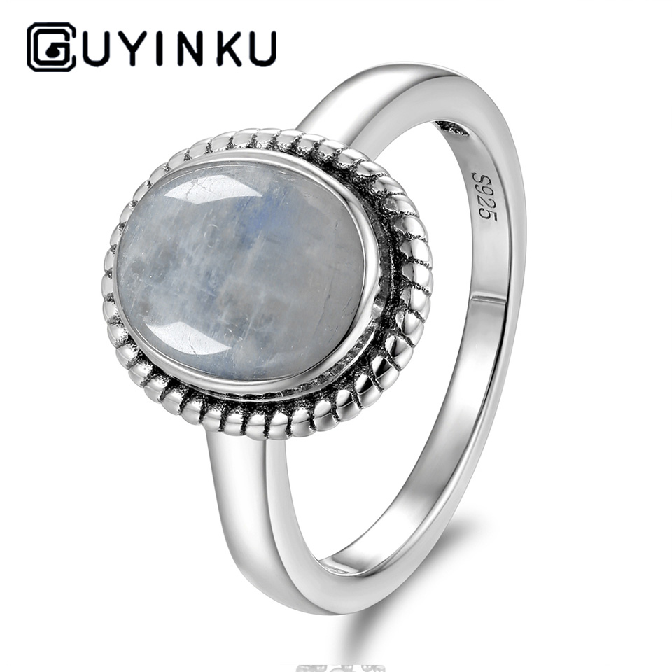 GUYINKU Vintage Natural Rainbow Moonstone Rings 925 Sterling Silver Gemstone Engagement Anniversary Ring For Women Fine Jewelry