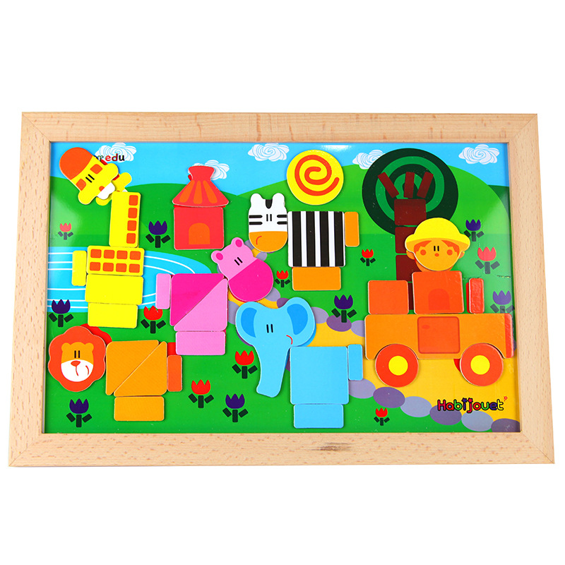 Children Wooden Early Education Sketchpad Magnetic Puzzle-in-1-2-3 Parent And Child Activity Double-Sided Magnetic Puzzle Toy