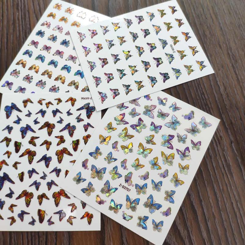 5/16 stücke Holographische 3D Schmetterling Nagel Aufkleber Sommer Nail art Dekoration Nagel Zubehör DIY Design