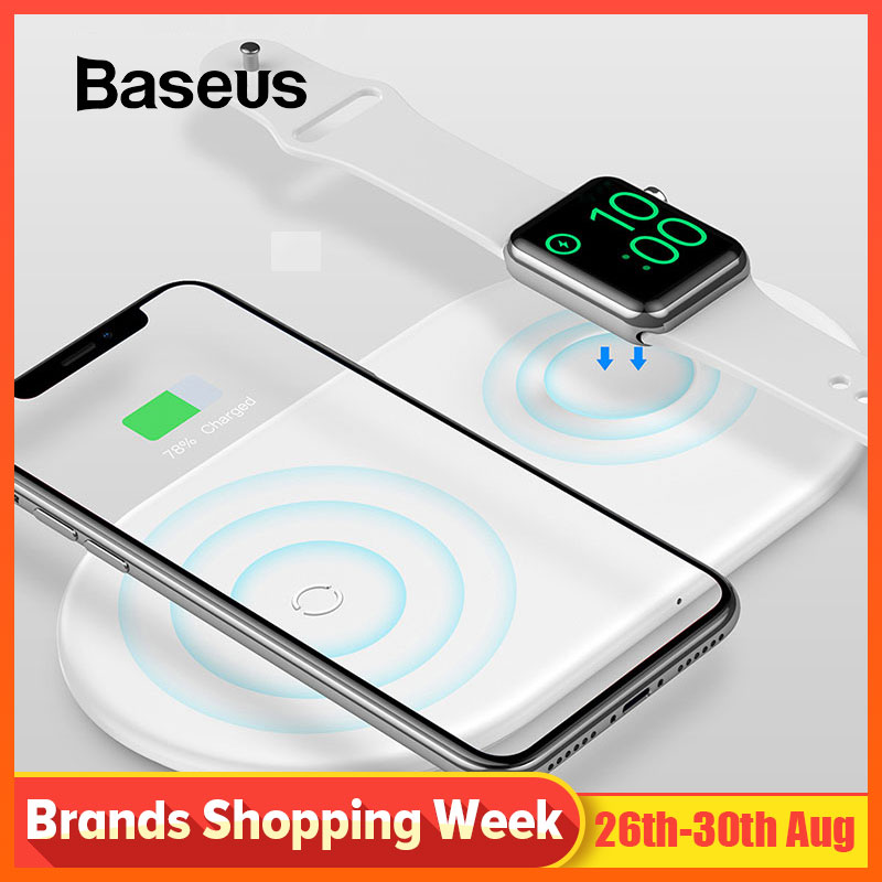 Baseus Wireless-Charger-Pad Watch Apple iPhone Samsung 2-In-1 for 4/3/2-/.. S9 Xs-Max