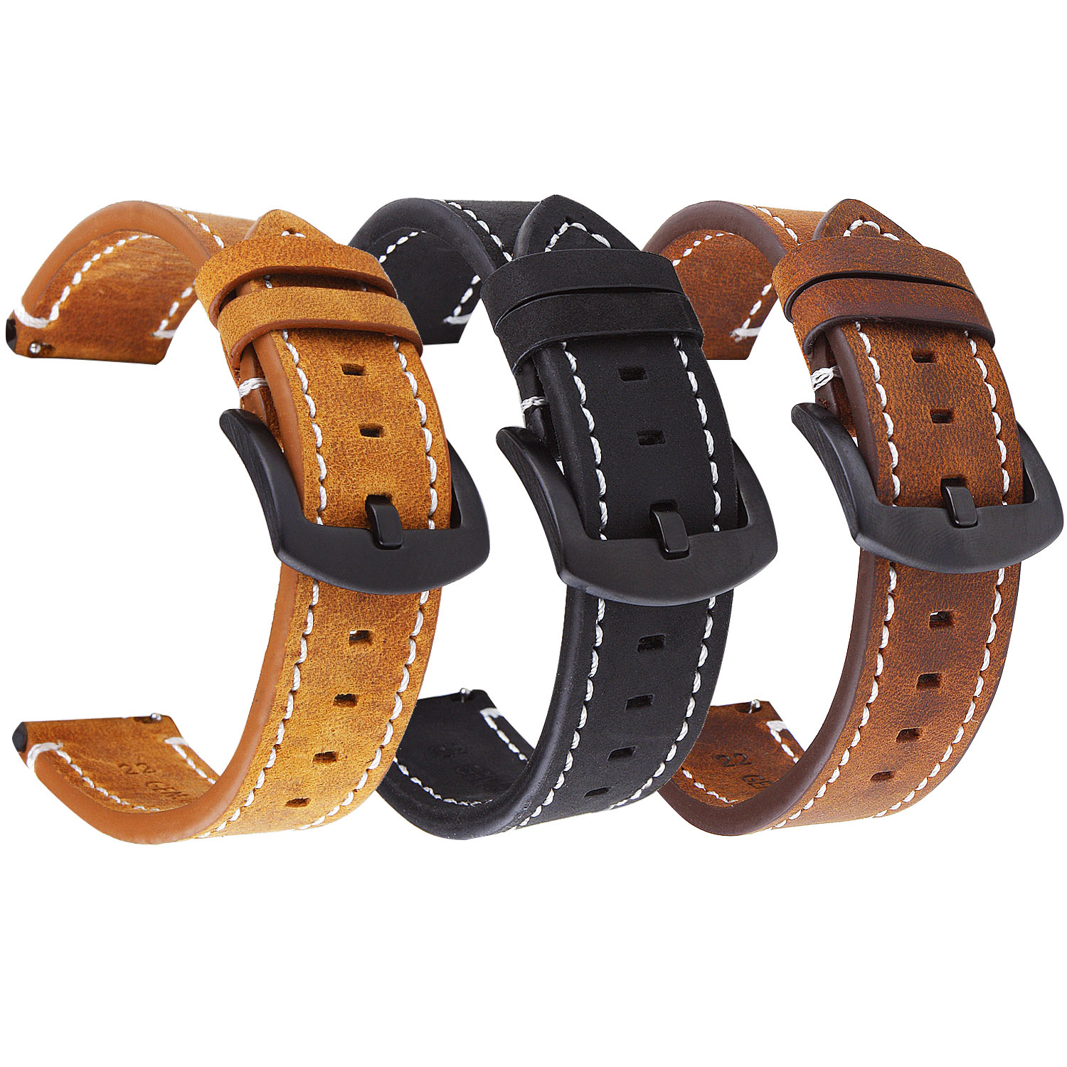 Watchband 18mm 20mm 22mm High End Retro Calf Leather Watch Strap Black Metal Buckle Genuine Leather Watch Band For Men Women