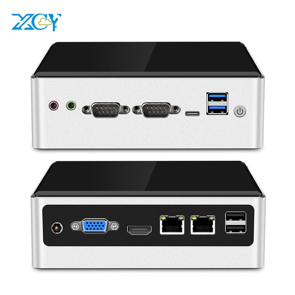 XCY Мини ПК Intel Core i5 4200U Linux тонкий клиент микро настольные компьютеры Лучшие Промышленные Komputer Win 10 7 Minipc 2 Lan порт ТВ