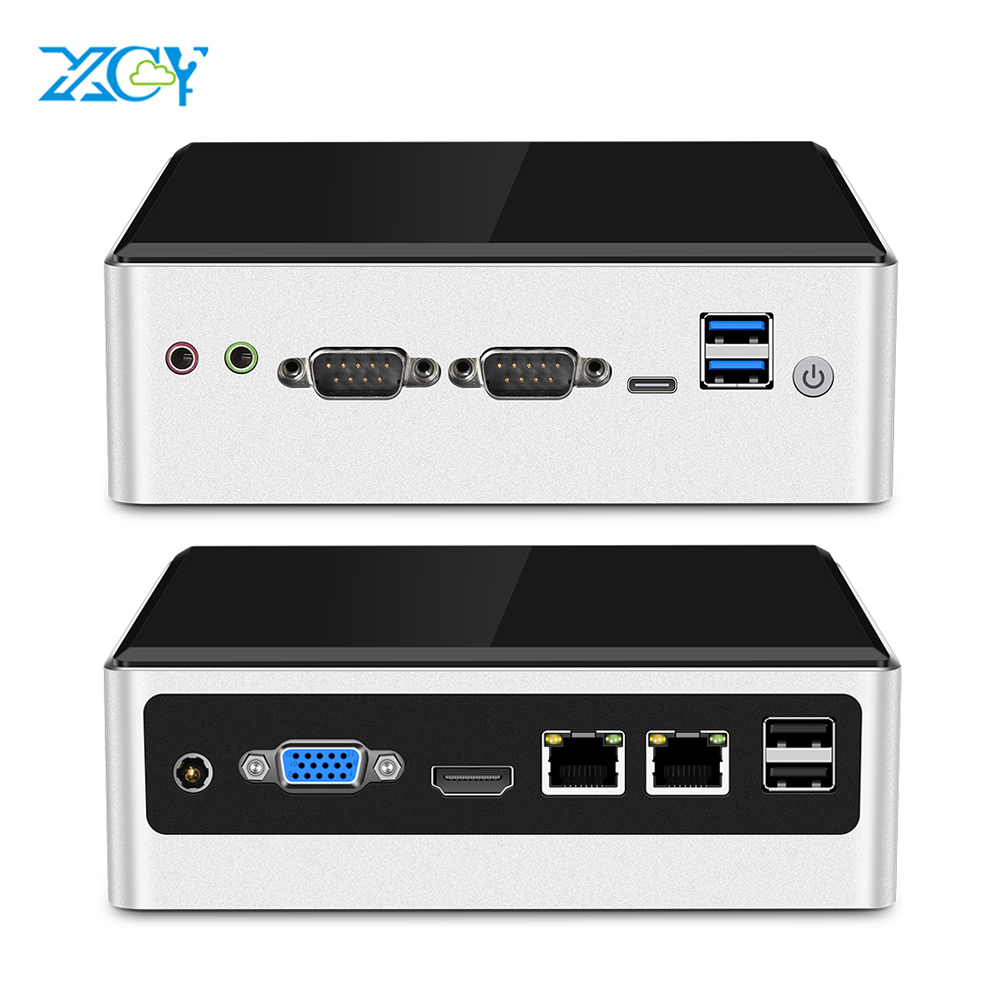 XCY Mini Pc Intel Core I5 4200U Linux Thin Client Micro Desktop Computers Best Industrial Komputer Win 10 7 Minipc 2 Lan Port TV