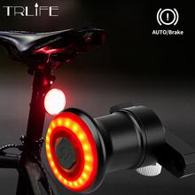 TRLIFE IPx6 wodoodporna Auto Start Stop latarka dla rowerów Bike tylne światło hamulca Sensing LED USB ładowanie jazda na rowerze Taillight tanie tanio Sztyca Baterii CCC CE Flashlight For Bicycle Auto Manual Optional Black Red 1200mah Brake induction Smart bicycle light