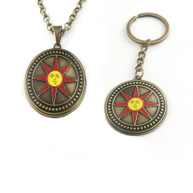 1pc Creative Cartoon Animation Dark Souls 3 Necklace Pendant Solaire of Astora Sunlight Metal Keychain Figure Toys Gift