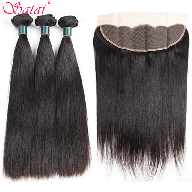 Satai Straight Hair 3 Bundles With Frontal 100% Brazilian Human Hair Bundles With Closure Natural Color Non Remy Hair Extension