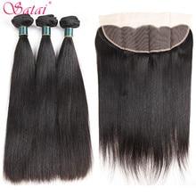 Satai extensão do cabelo em linha reta feixes de cabelo com fechamento 100% não remy feixes de cabelo humano com fecho cabelo peruano pacotes