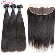 Satai włosów rozszerzenia pasma prostych włosów z zamknięciem 100% nie Remy człowieka wiązki włosów z zamknięciem peruwiańskie pasma włosów