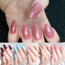 24 шт блестящие винно красные искусственные накладные ногти