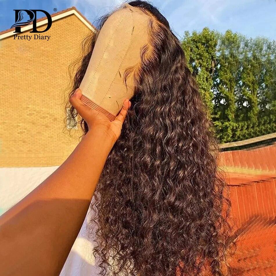 30 дюймов, глубокая волна, кружевные человеческие волосы, парики, предварительно выщипанные бразильские, 5x5, закрытие, 13х6, парик шнурка, свобо...