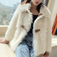 Faux Fur Jacket Women Fashion Splicing Leather PU Imitation Cashmere Belt Buckle Slim Outerwear 2020 New Winter Ladies Coat Chic(China)