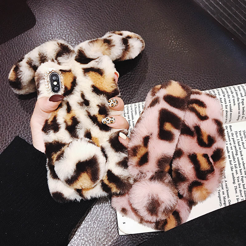 Leopard Plush Phone Case For Samsung Galaxy C5 C7 C9 Pro S20 Ultra S10 5G S9 S8 Plus S7 S6 S5 S4 S3 MINI Rabbit Furry Soft Cover