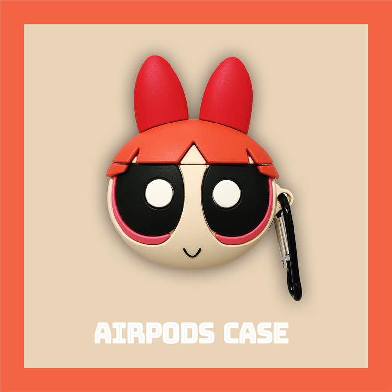 Cute Blossom Powerpuff Girls Policemen INS Headphone Cases For Apple Airpods 1/2 Silicone Protection Earphone Cover Accessories