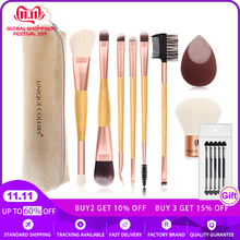 Multifunction Bamboo Handle Makeup Brush Set With Makeup Blender Flocking Sponge  Kabuki Brush Essential Travel Brush Set