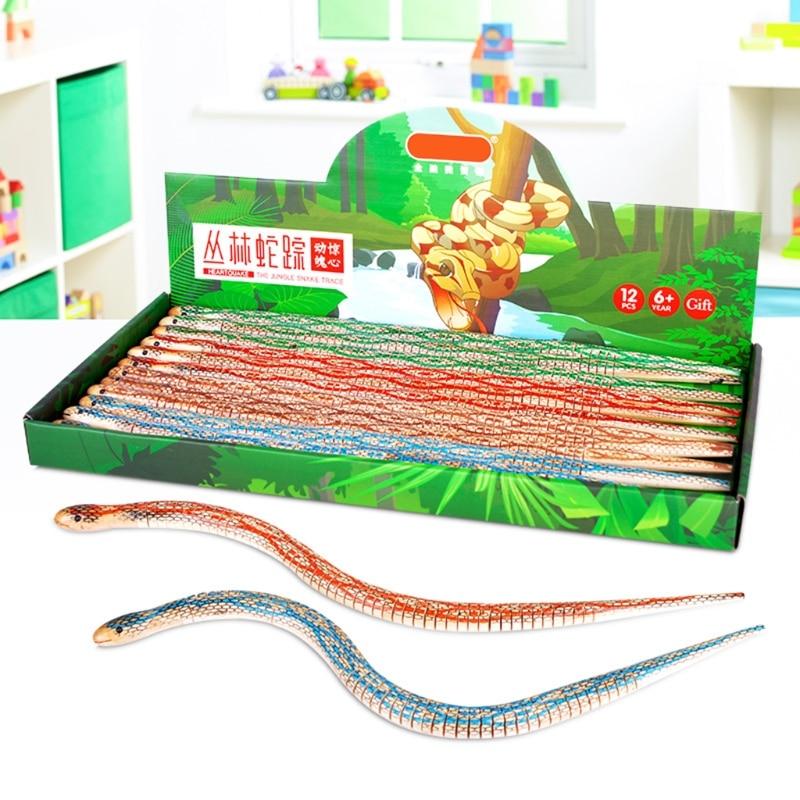 1PC Practical Joke Garden Props Small Wiggle Wooden Snake Trick Toy for Children Kids Random Color