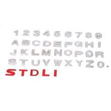 2,5 см персональные DIY металлические буквы-Стикеры, автомобильная эмблема, буквенная наклейка, серебряный значок, наклейка