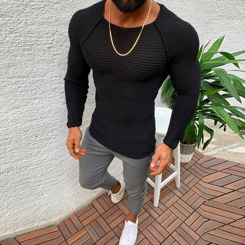 DIHOPE  NEW Knitted Sweater Men Spring Autumn Fashion Brand Clothes Mens Pull Striped Sweaters Solid Color Slim Male Pullover