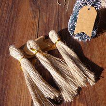 Étiquette de décoration de noël en chanvre fin   Corde en chanvre fin, coupée à la main, bonne qualité, 50 pièces/ensemble, 25cm de Long, bricolage, qualité naturelle