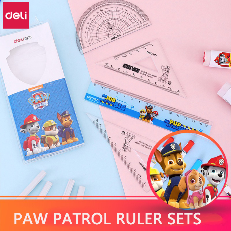 10set Deli Paw Patrol Ruler Set Math Geometry Tools Stationery Plastic Ruler Straight Triangular Ruler Protractor Measuring Kits