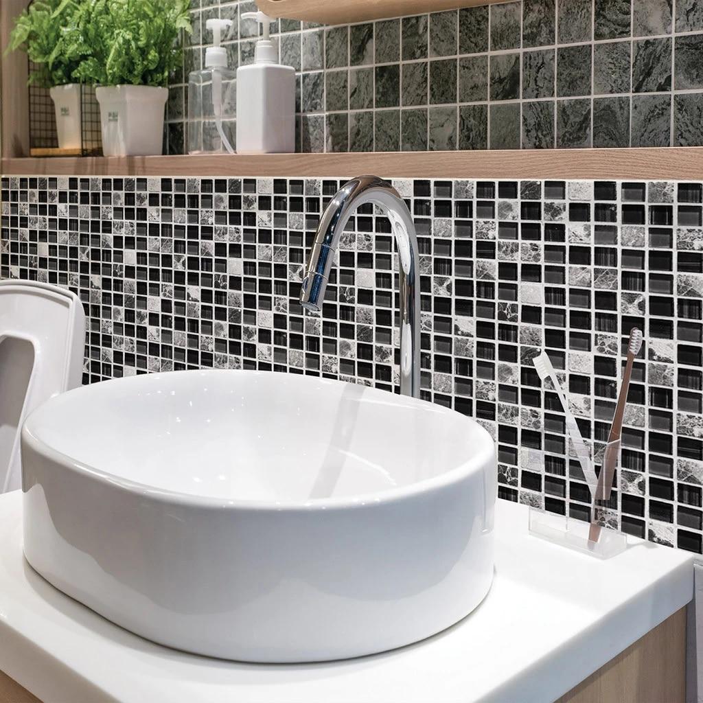 self adhesive mosaic tile sticker kitchen backsplash bathroom wall tile stickers decor waterproof peel stick pvc tiles y4