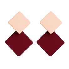 Hello Miss New paint geometric square earrings exaggerated fashion simple wild Stud earring retro cold wind women's earrings все цены