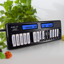 Palo 16 slots AA AAA rechargeable battery charger LCD smart quick charger for 1.2V AA AAA nimh nicd battery quick discharge