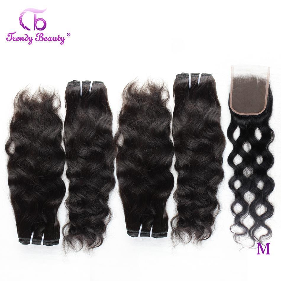 Feixes de tecer cabelo brasileiro com 4x4 encerramento onda natural feixes de cabelo humano com fecho 5 pçs/lote não-remy na moda beleza cabelo