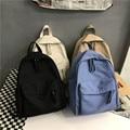 Водонепроницаемый Модный женский рюкзак, однотонная черная сумка на плечо для девочек-подростков, школьные Женские рюкзаки в стиле преппи