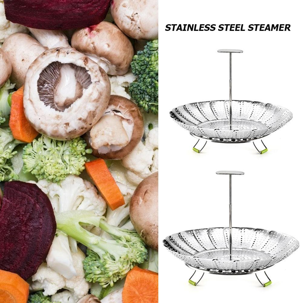 Vegetable Fruits Steamer 9/11in Food Drain Basket Tray Stainless Steel Collapsible Smooth Surface Difficult Deform Home Tool