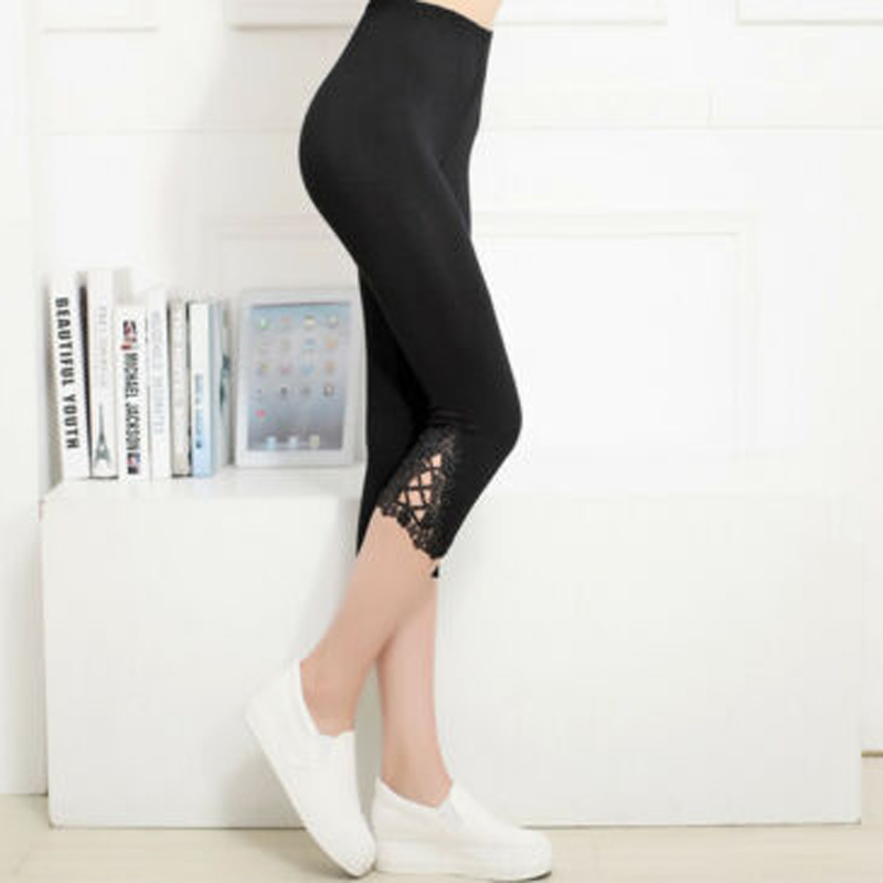 Women Solid Lace Decor 3/4 Modal Cotton Capri Legging Pant Summer Clothes One Size