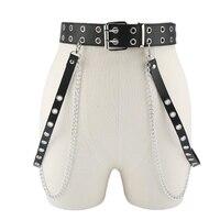 Cinturón de cuero con cadena ajustable para mujer, 1 unidad, Punk, Hip-hop, gótico