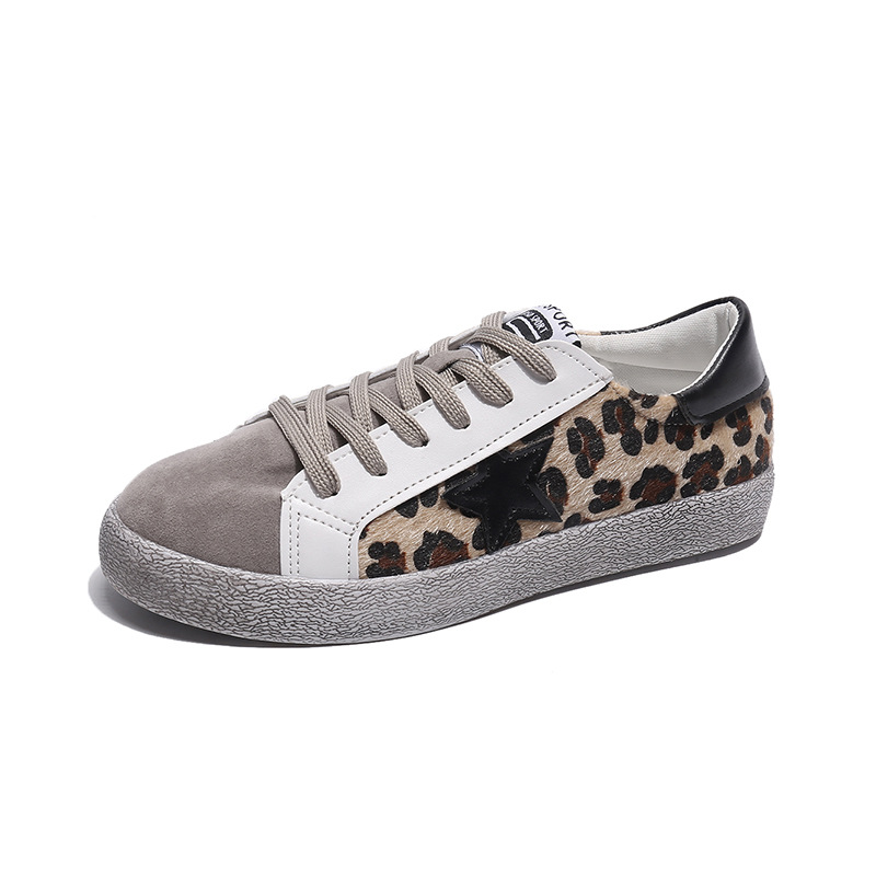 2020 New Female Leopard Wild Leisure Spring And Autumn Fits True To Size, Take Your Normal Size Round Toe Casual Cross-tied PU