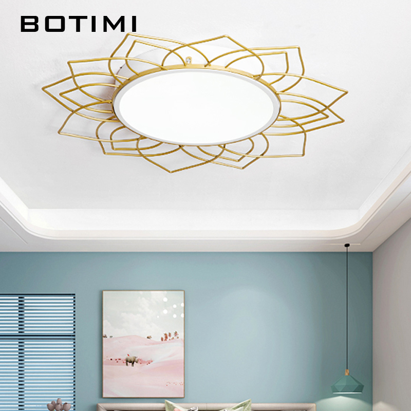 BOTIMI Art Creative Round Ceiling Lamp For Living Room Home Decor Golden Metal Surface Mounted Bedroom Lighting Fixtures