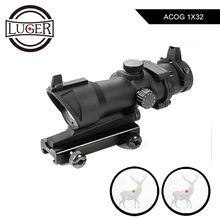 LUGER ACOG 1X32 Red Dot Sight Scope Tactical Red Green Dot Rifle Scope With 20mm Rail For Airsoft Gun Hunting Optics Scope
