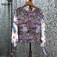 2020 Autumn Fashion Designer Blouse Shirts High Quality Cotton Women V Neck Exquisite Print Long Sleeve Casual Vintage Tops