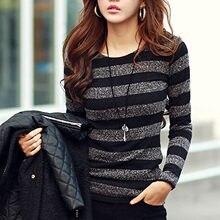 #58 nova moda feminina casual em torno do pescoço listra sexy magro manga comprida blusa blusa estilo coreano
