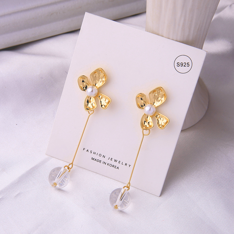 Gold Color $1 Transparent Beads Drop Earrings Flower Dangle Glass Acrylic Pearls Fashion Jewelry