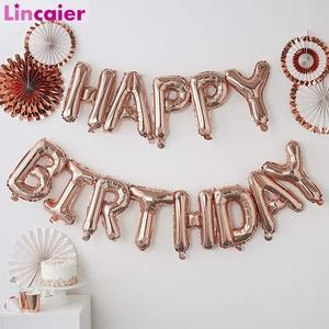 Image 1 - Lincaier 16 אינץ יום הולדת שמח רדיד בלוני תינוק ילד ילדה ראשון יום הולדת 1st אחד זר קישוט מסיבת ילדים למבוגרים