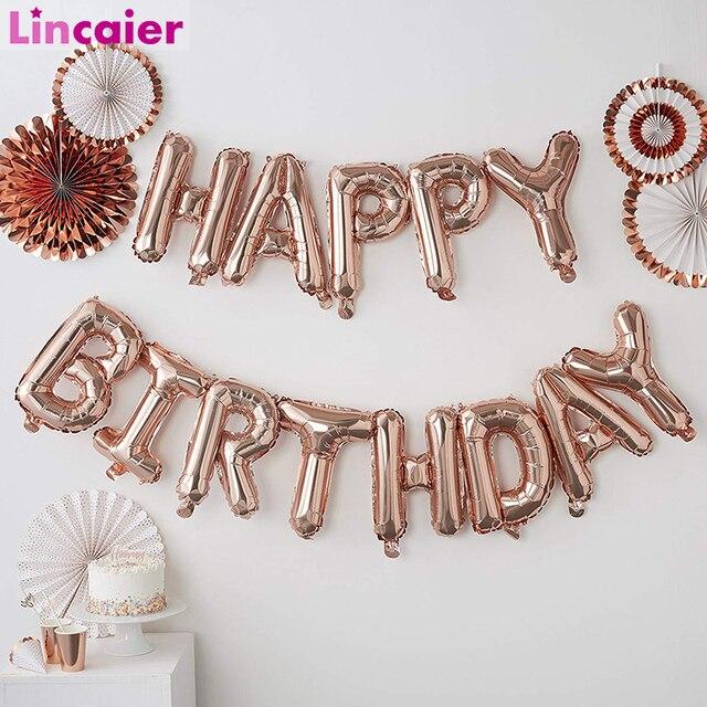 Lincaier 16 אינץ יום הולדת שמח רדיד בלוני תינוק ילד ילדה ראשון יום הולדת 1st אחד זר קישוט מסיבת ילדים למבוגרים
