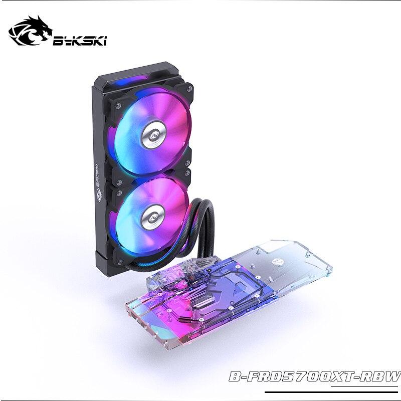 BYKSKI GPU Water Block For AMD Radeon RT5700XT /RT5700 With 240mm Radiator 2pcs Fan A-RGB Light GPU Heat Sink Contains Liquid