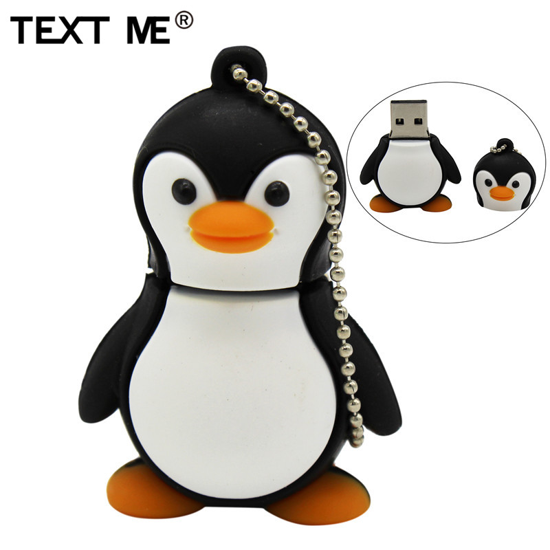 TEXT ME Cartoon Cute Penguin Style Usb2.0 4GB 8GB 16GB 32GB 64GB Pen Drive USB Flash Drive Creative Usb Stick Pendrive