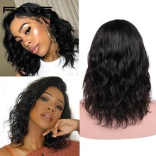 Wigs Lace-Part Human-Hair FAVE Natural Black-Women Brazilian Wave Pre-Plucked for Shoulder-Length