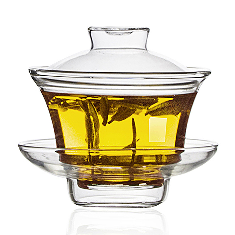 Heat-resistant Glass Tureen High-temperature Resistant Glass Three-force Cup Kung Fu Tea Set Tea Cup Tea Bowl Cup With Cover